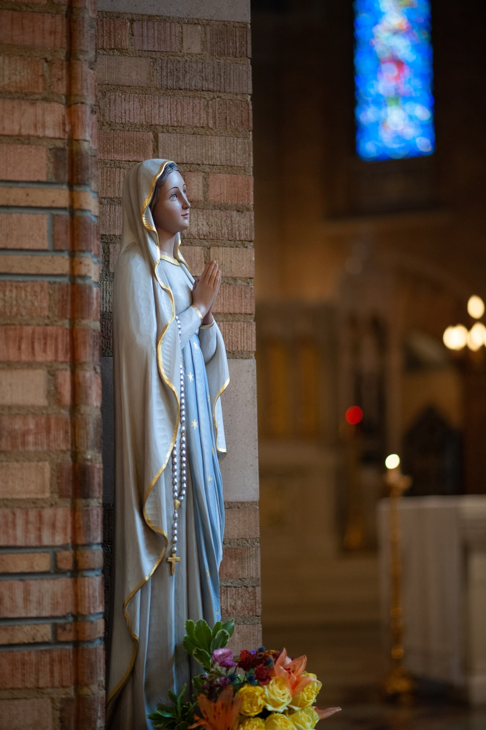 Mother Mary figurine in cathedral
