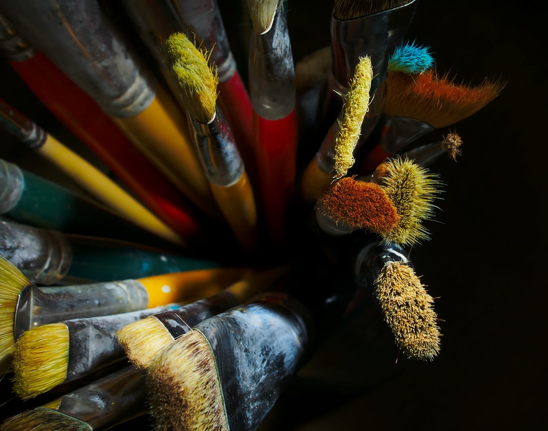 Well used artists paintbrushes.