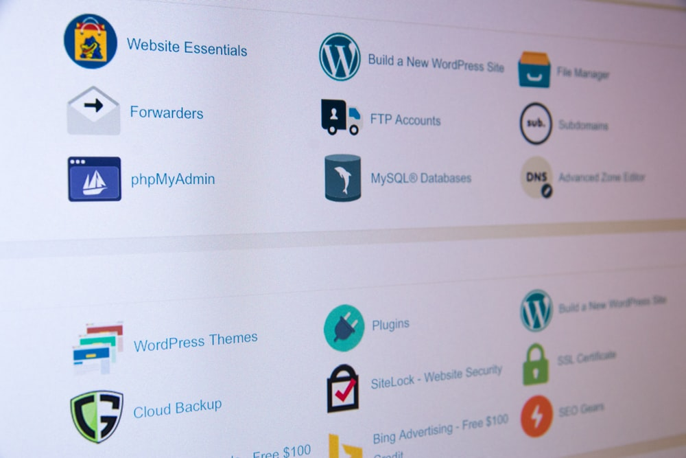 assorted icons on the wordpress dashboard