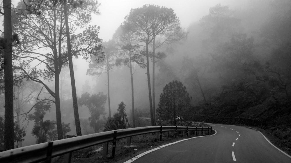 gray road beside mountain