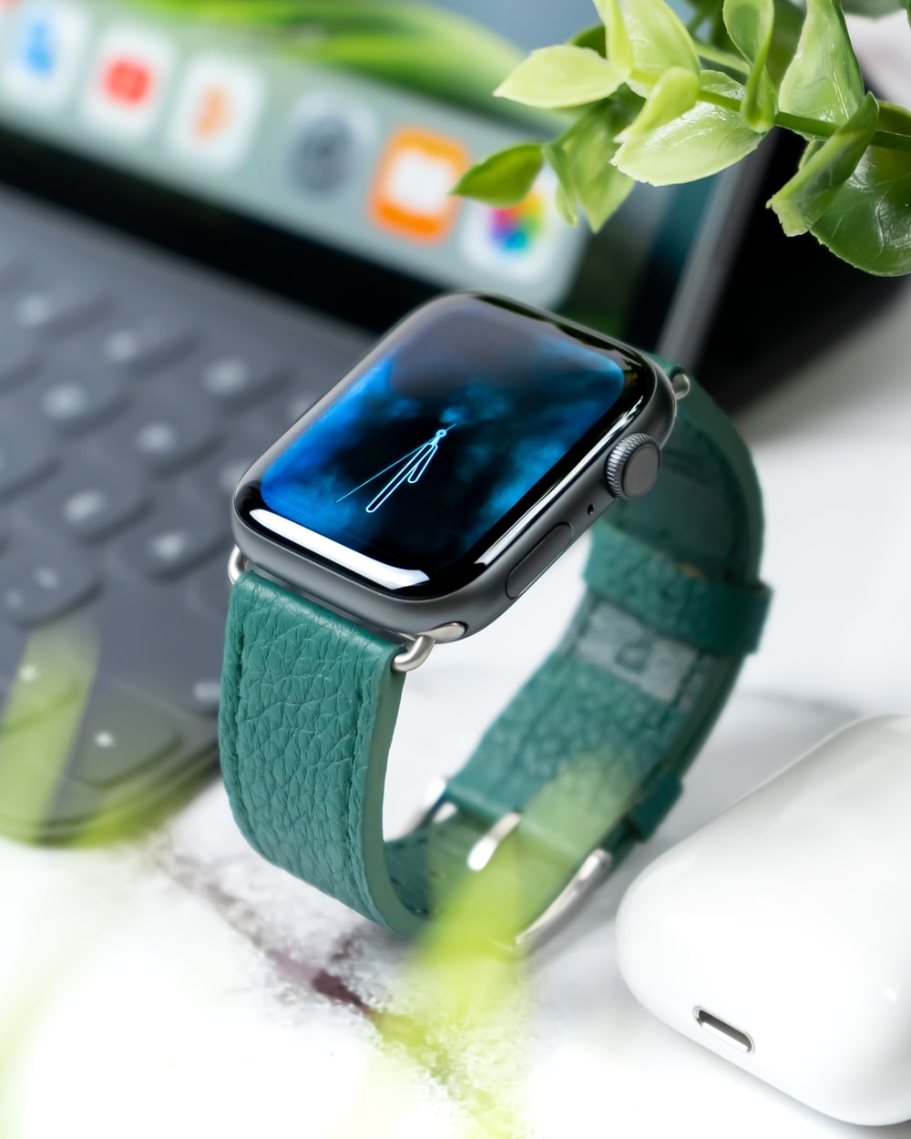 Apple Watch with green band