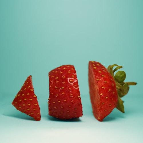 a sliced strawberry.