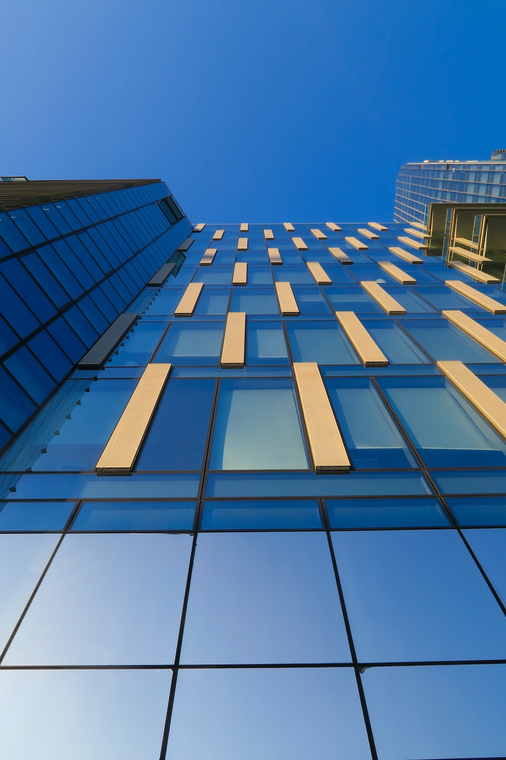 low-angle photography of blue glass building