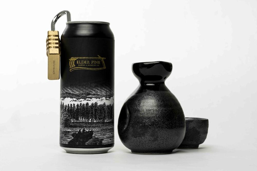 black ceramic jar