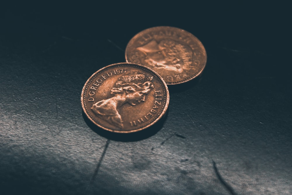 two round gold-colored coins