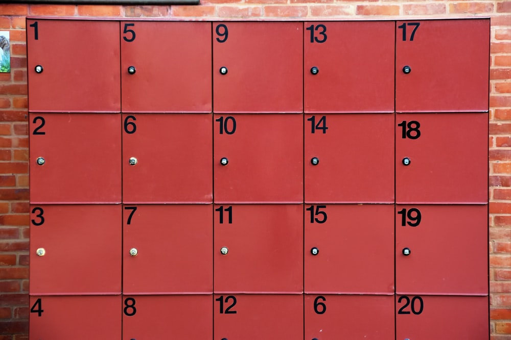 red 1 to 20 numbered lockers