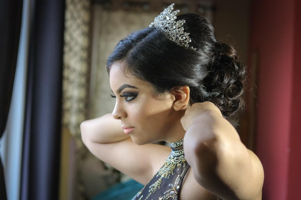 woman wearing tiara