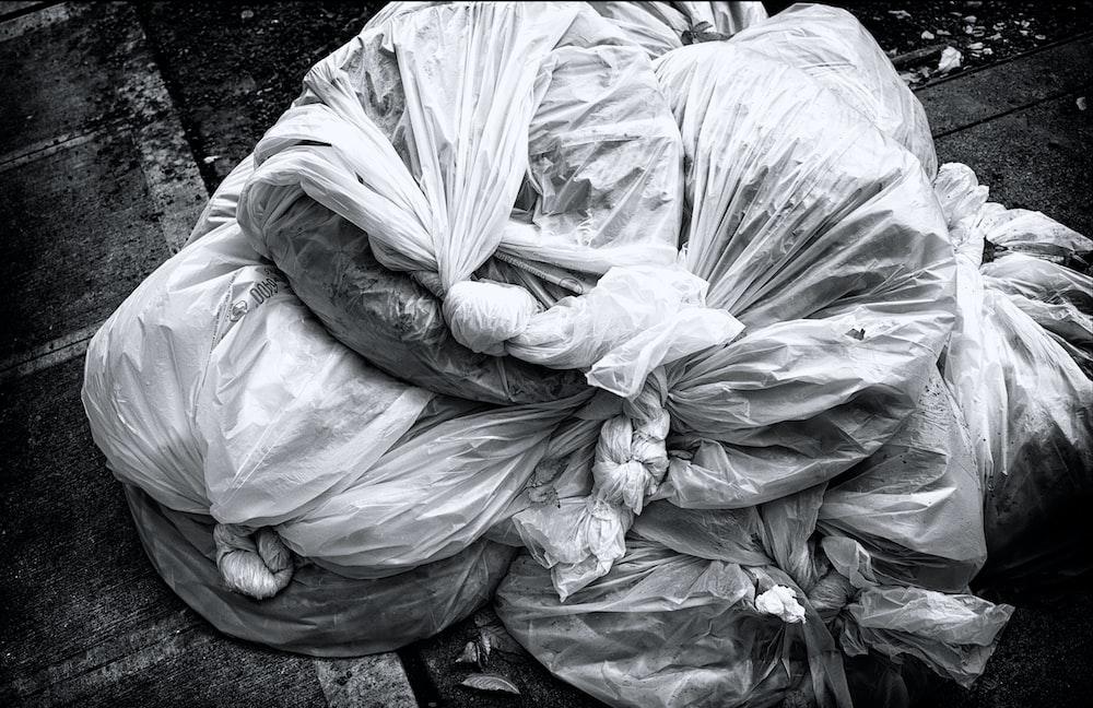 plastic bag piled