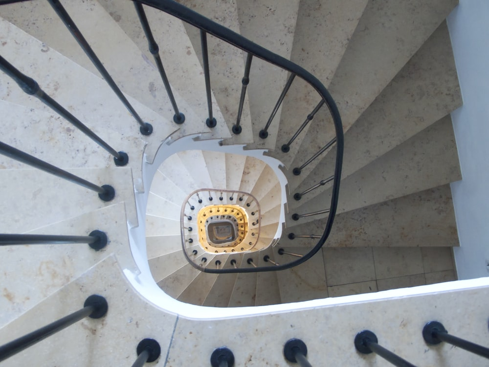 white and black spiral staircase
