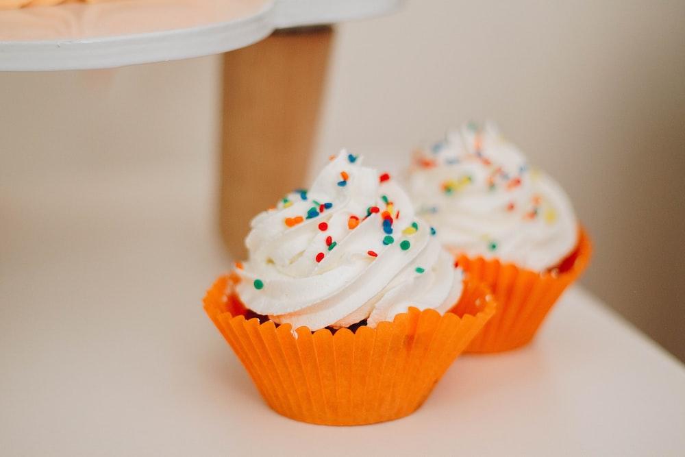 two vanilla cupcake