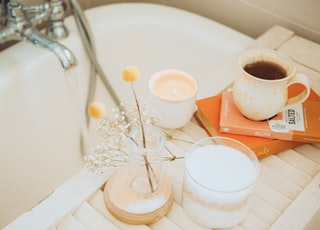 Self love Sunday. Bath salts, vegan chocolate, tea and a book.