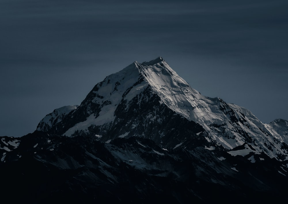 snow covered mountain during nighttime