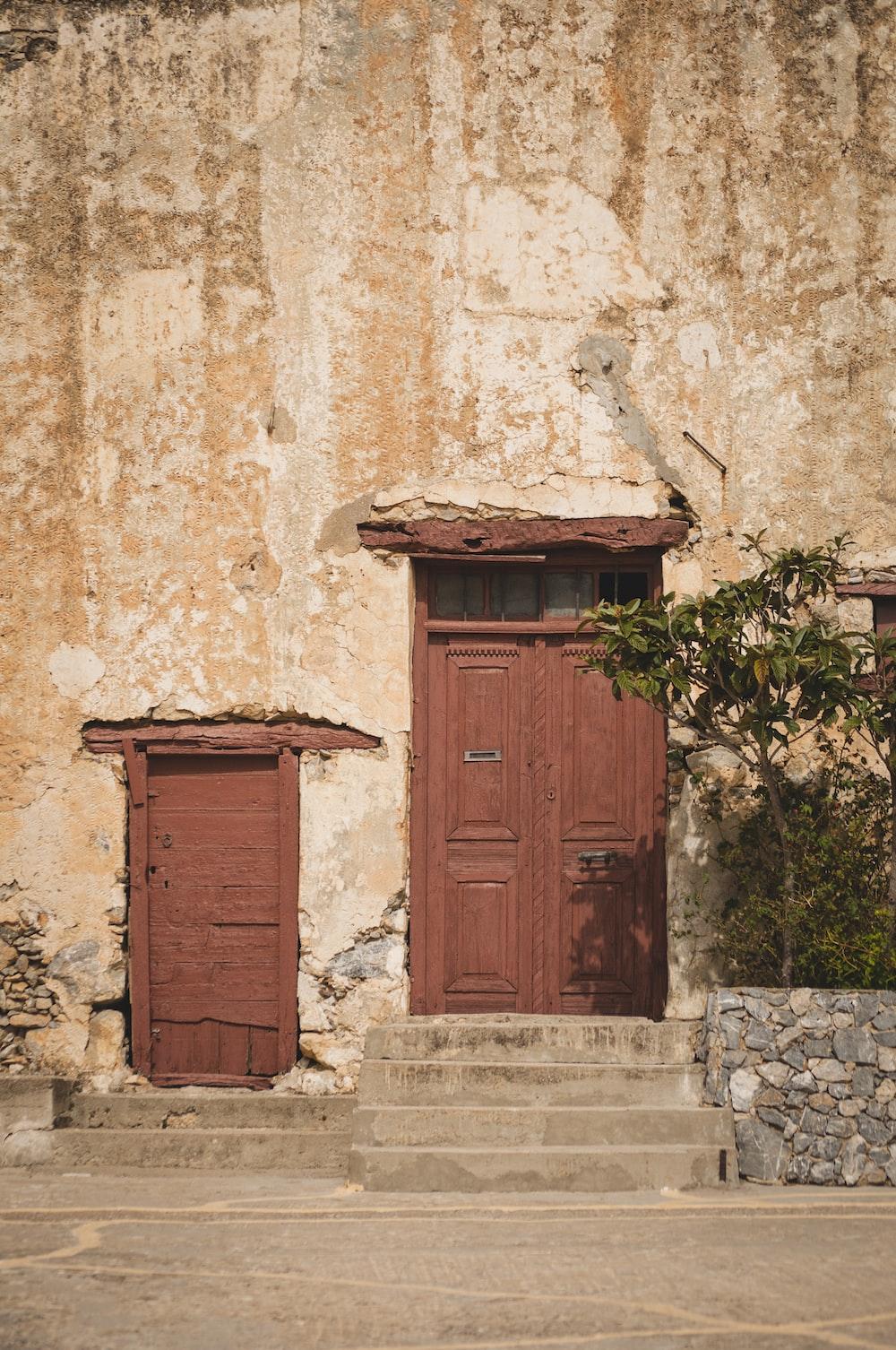 brown closed door