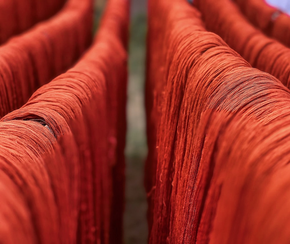 red dyed nylon threads