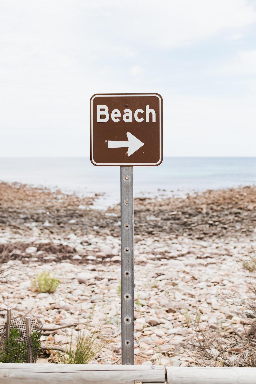 brown beach signage