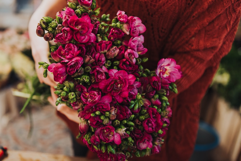 person holding pink flower bouquet