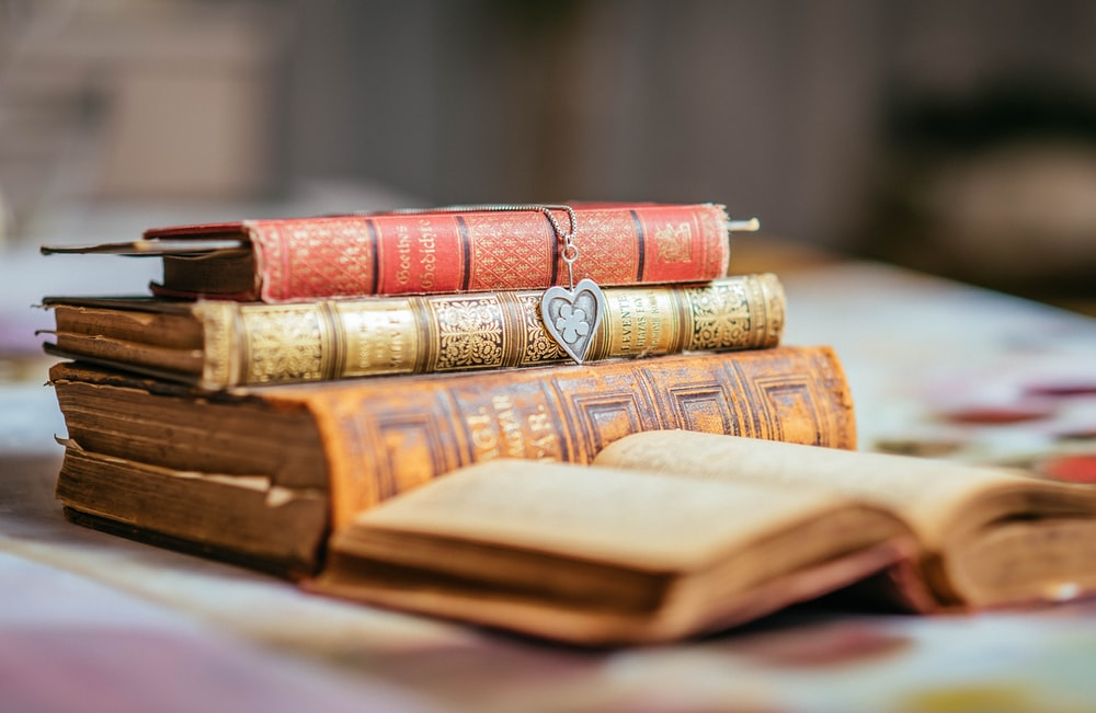 piled closed books