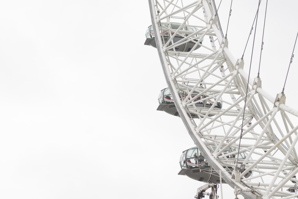 London Eye under white sky