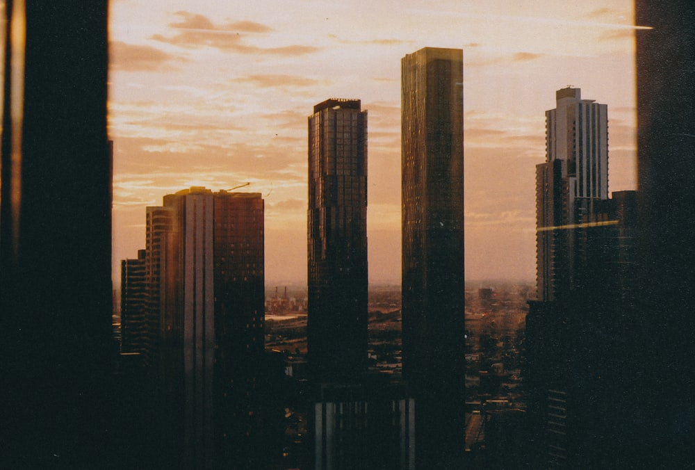 silhouette photography of buildings