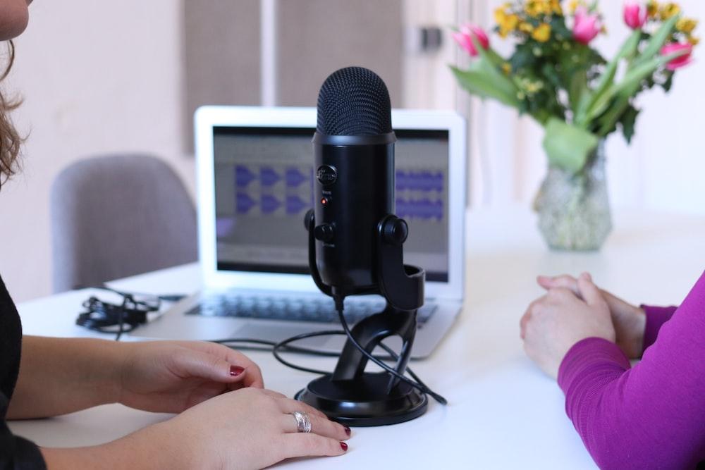black condenser microphone