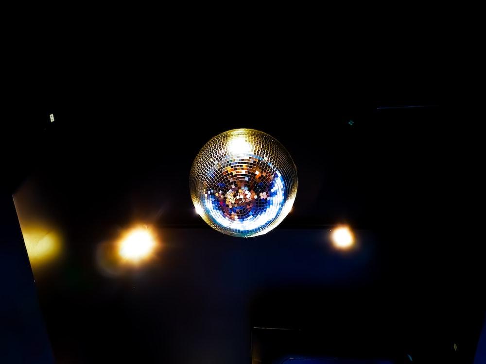 silver disco light