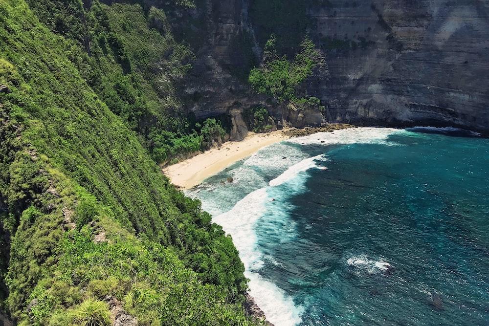high angle photo of beach
