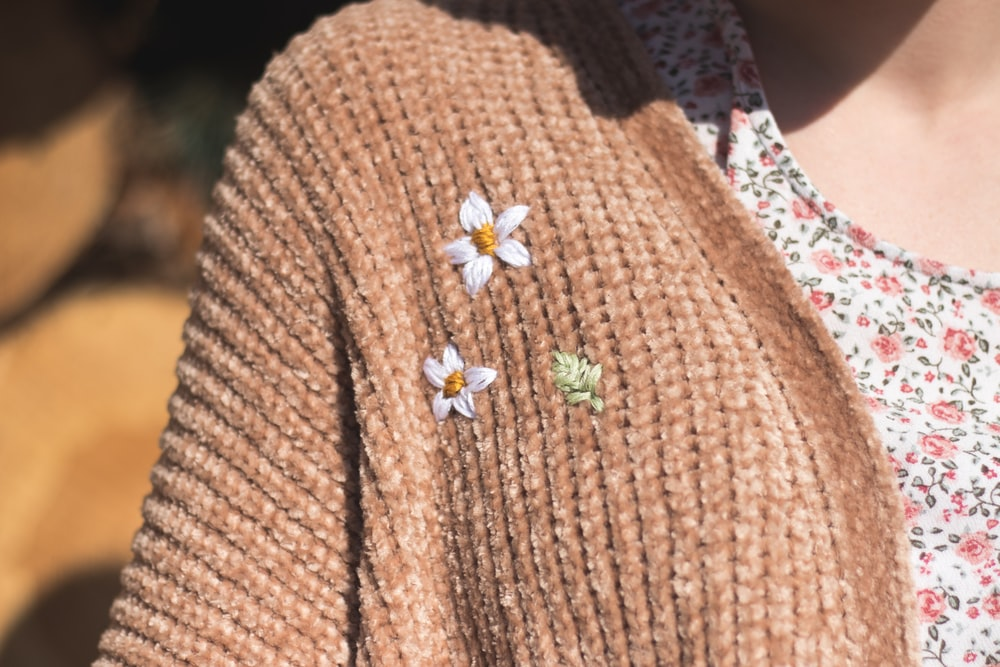brown and white floral knit cardigan