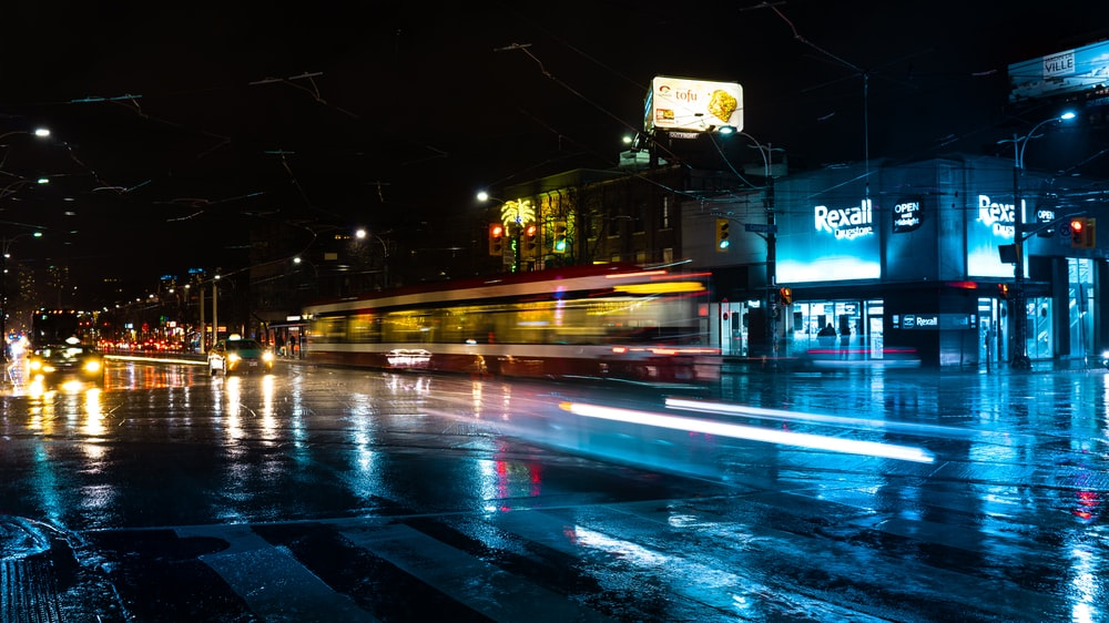 timelapse photography of street