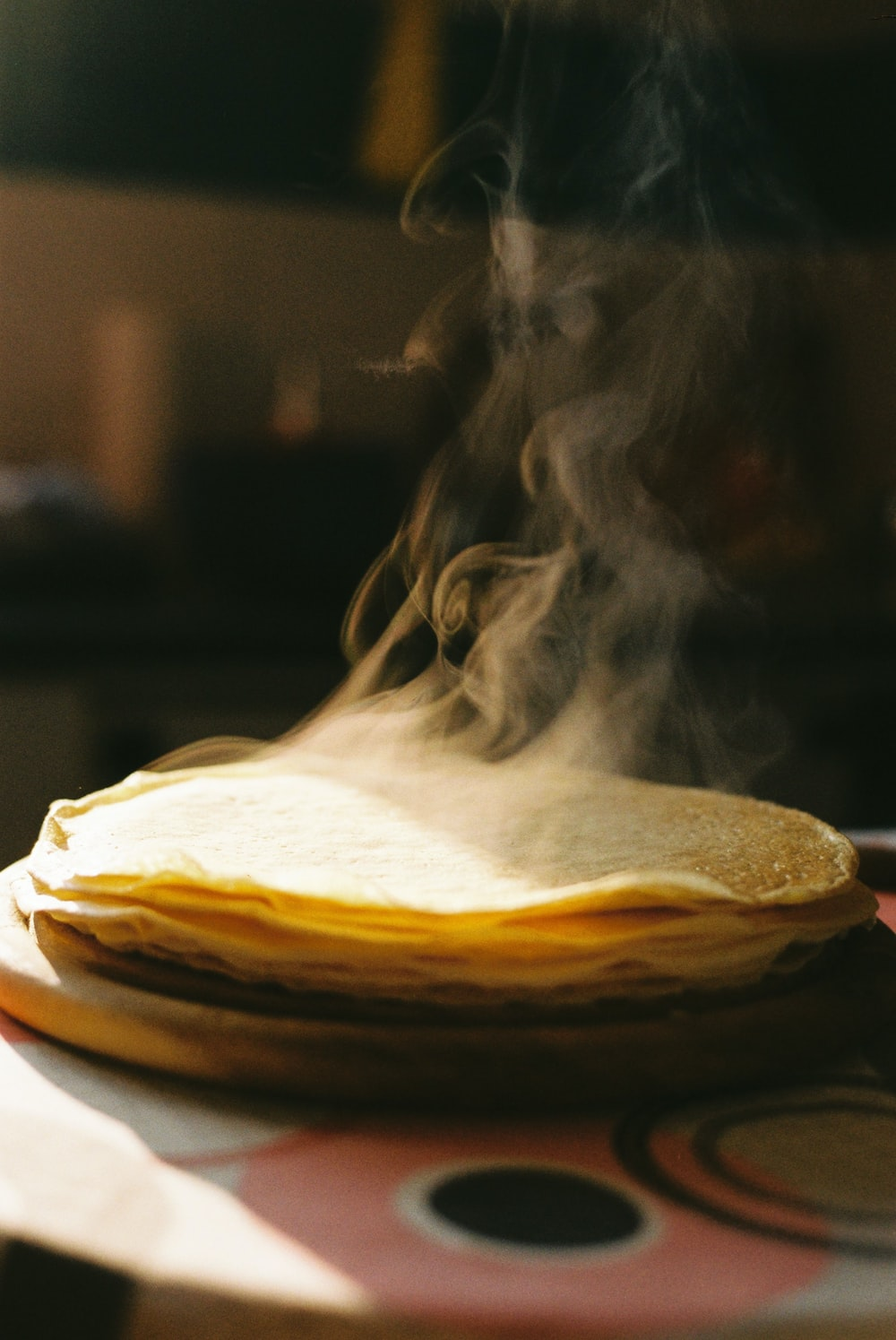 cooked pancake on table