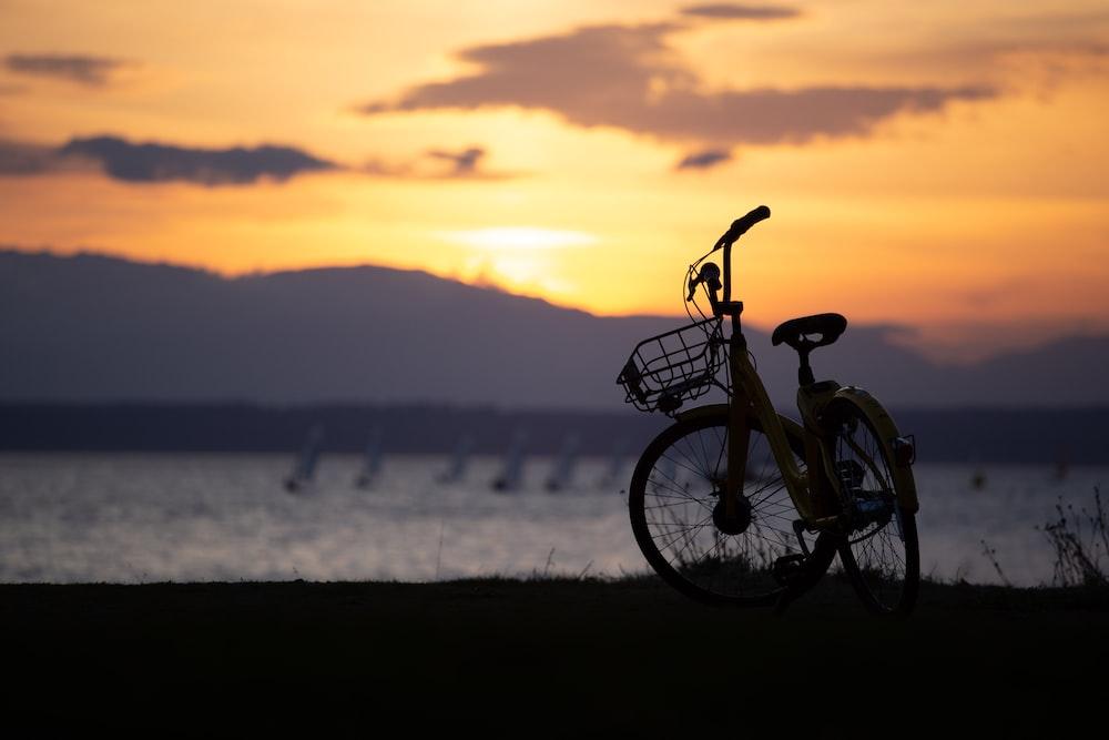 black city bike near sea