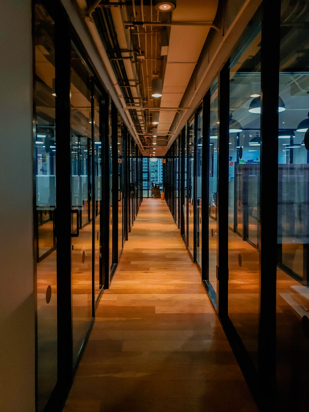 glass paneled long wooden floored hallway
