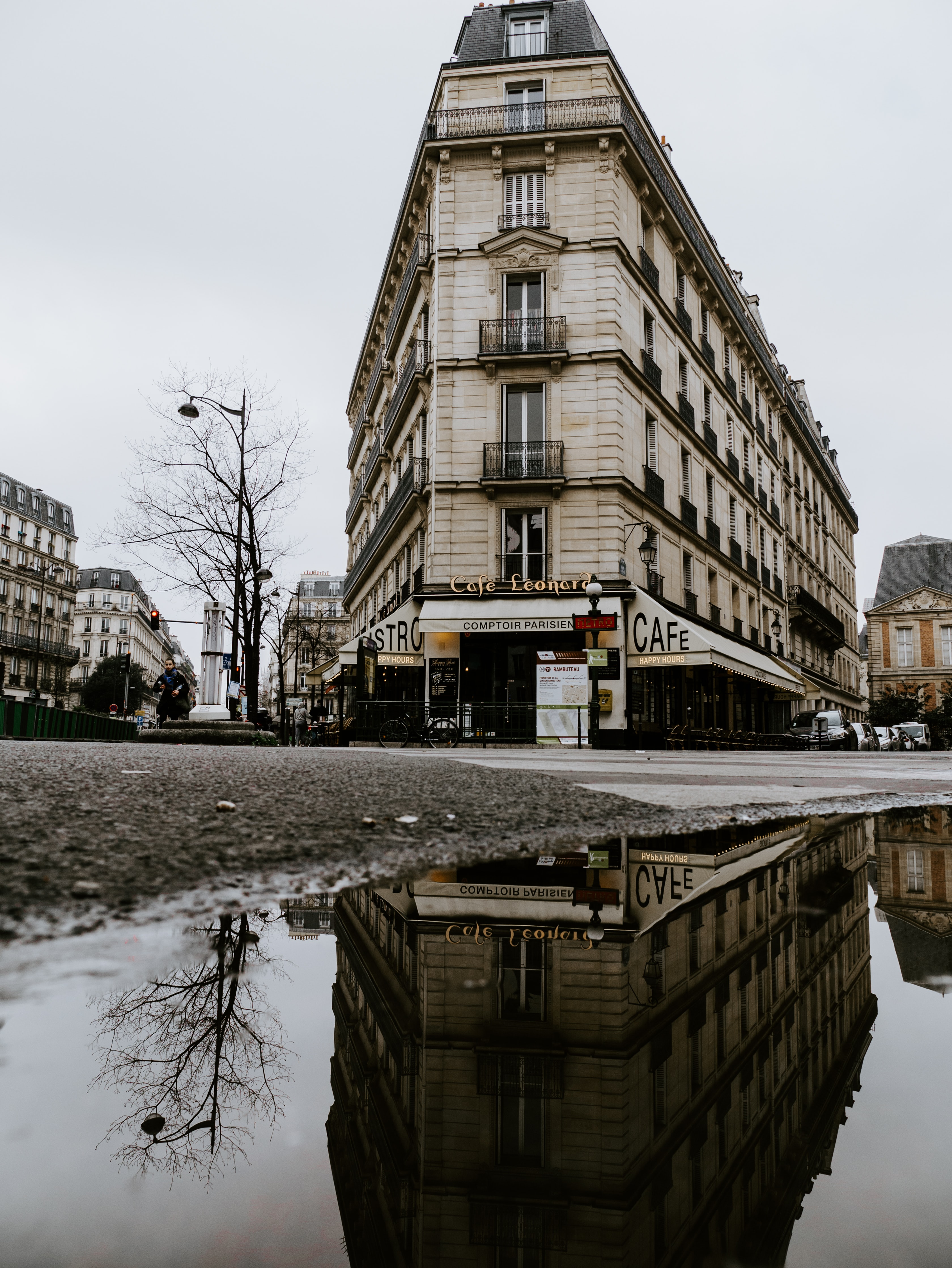 clear water puddle on street