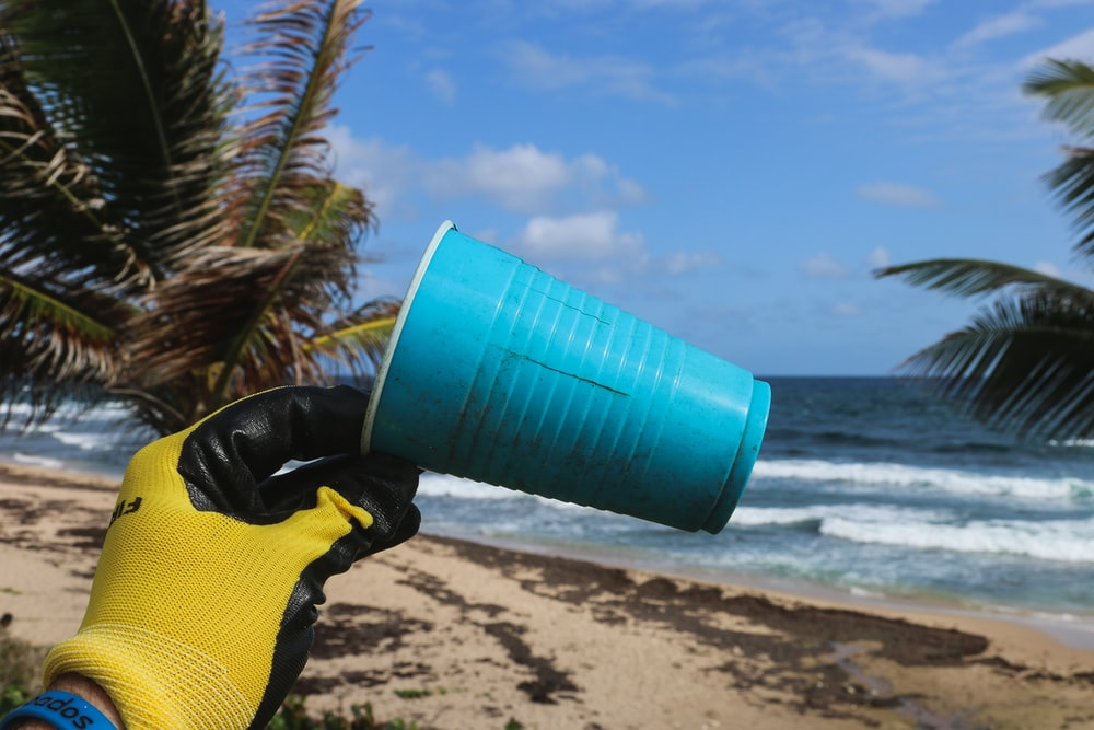 blue plastic cup held by hand with yellow gloves at the beach