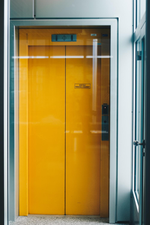 closed yellow elevator