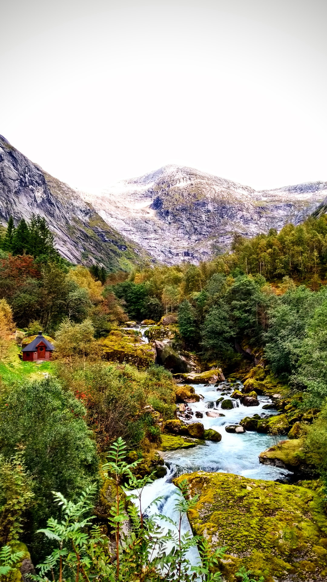 A little cabin by the river at the Lunde Turiststatjon near Jølster, Norway.