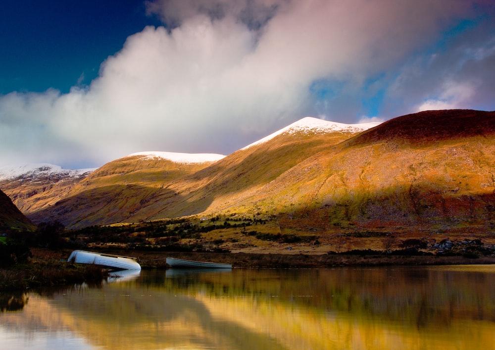 mountain across the calm lake