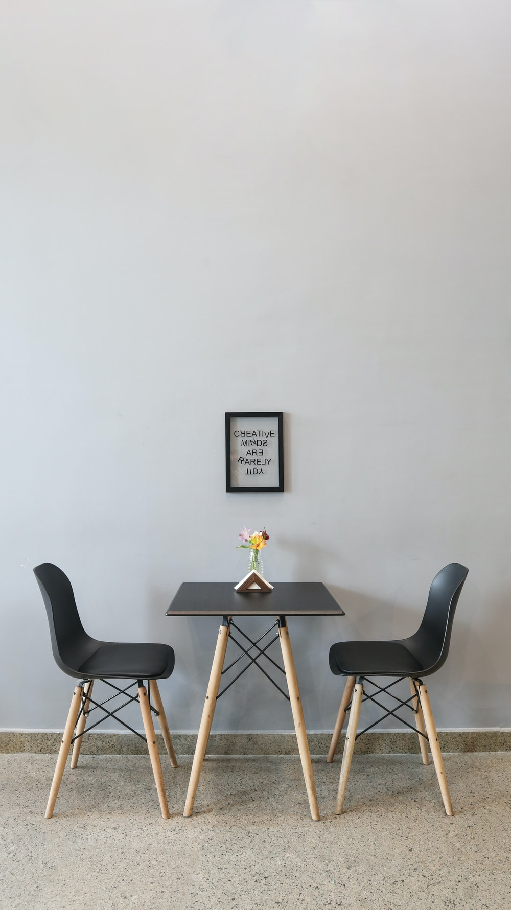 black couple dining set with yellow flower