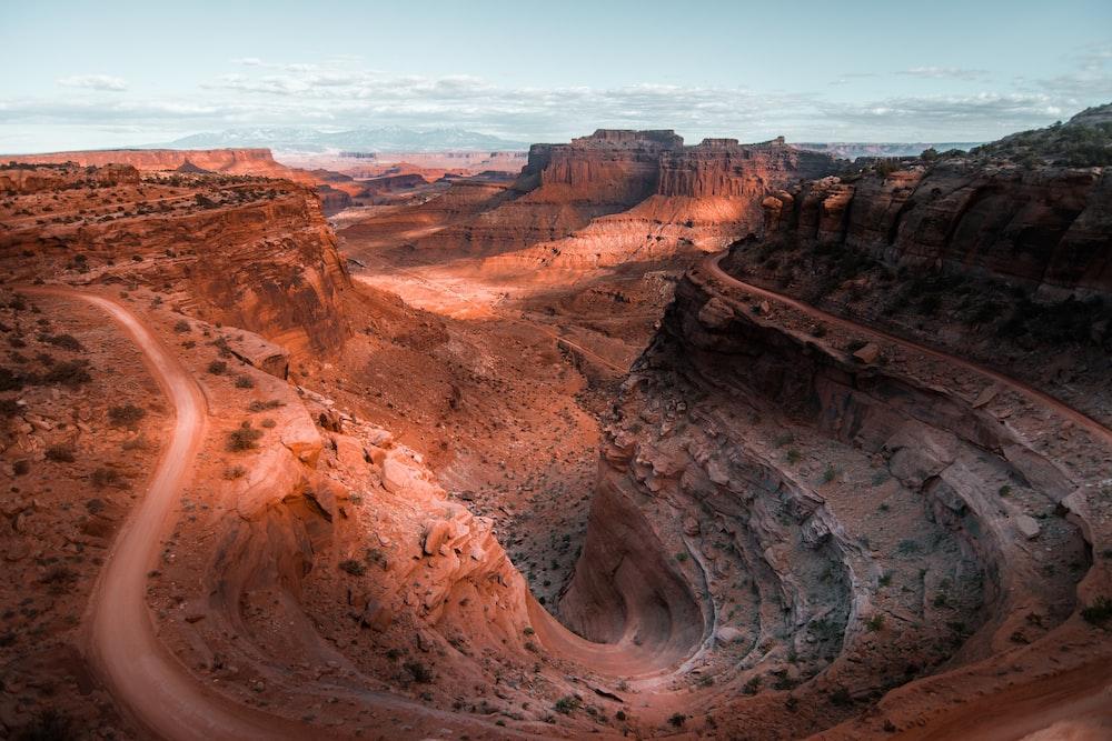 aerial photography of mounitan range