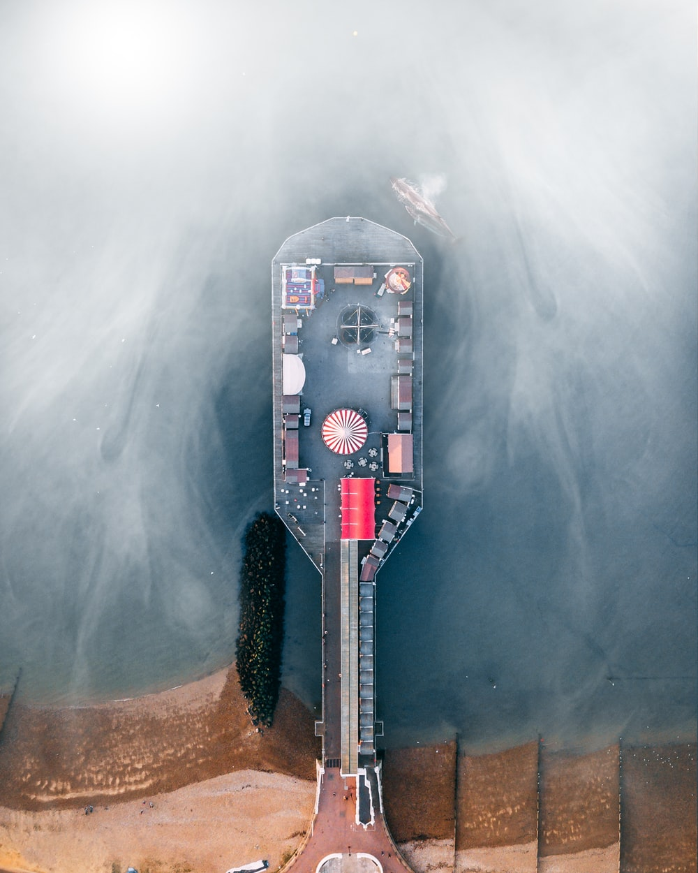 aerial photography of dock during goffy weather