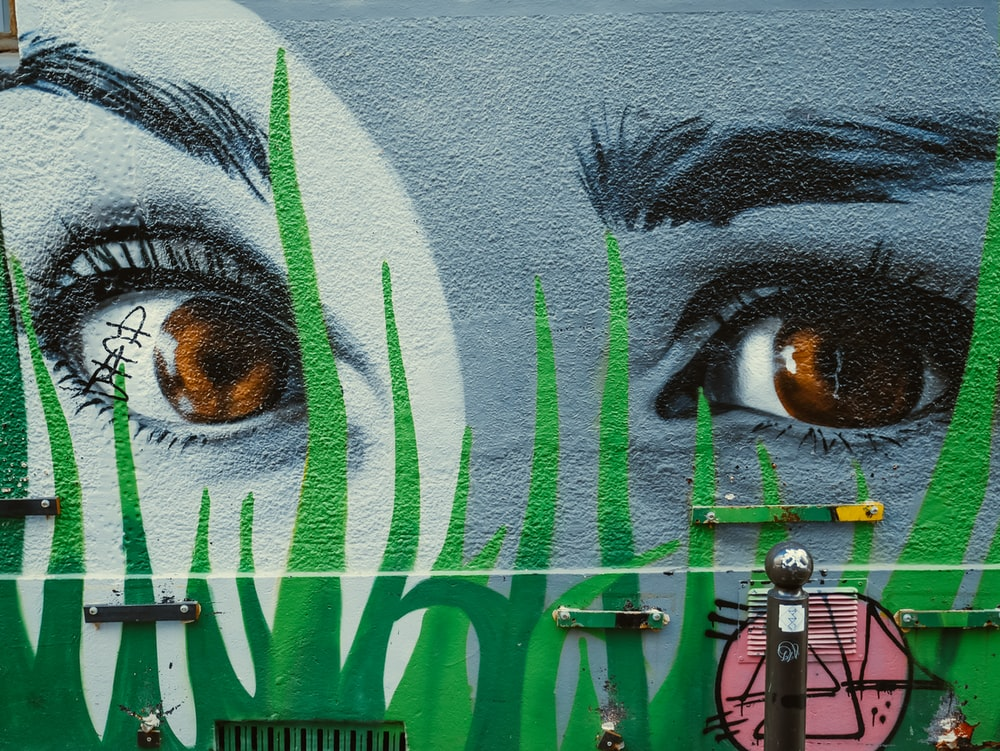 face of person painting on wall