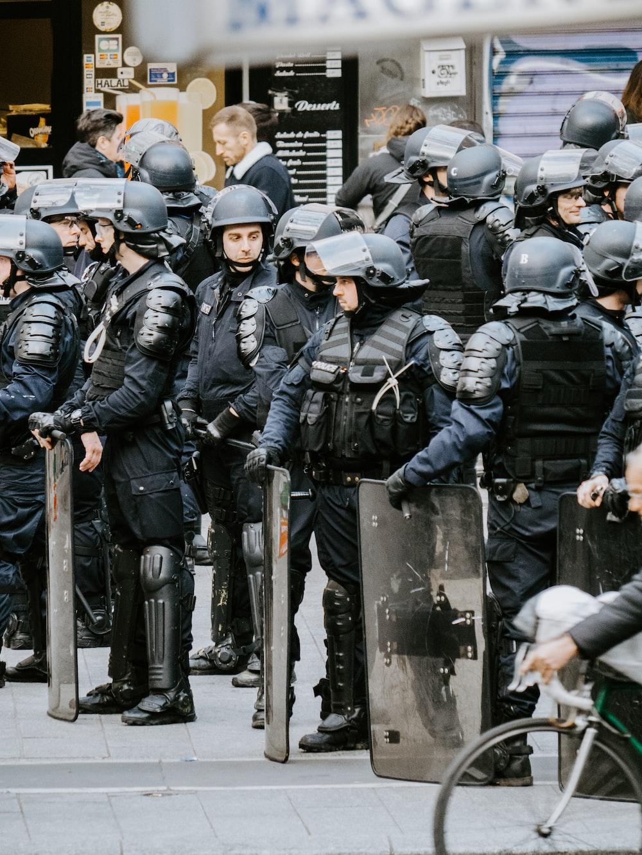 police men wearing helmets