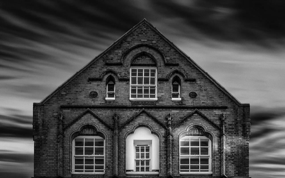 greyscale photo of house