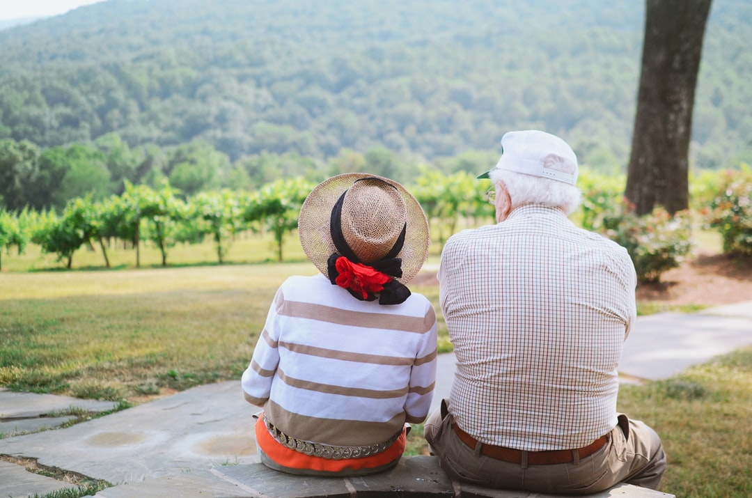 Grandparents enjoying the view at the grandsons wedding