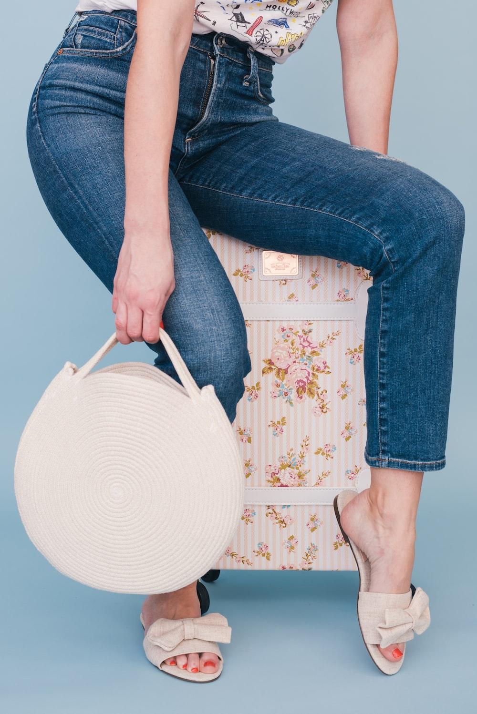 white leather handbag