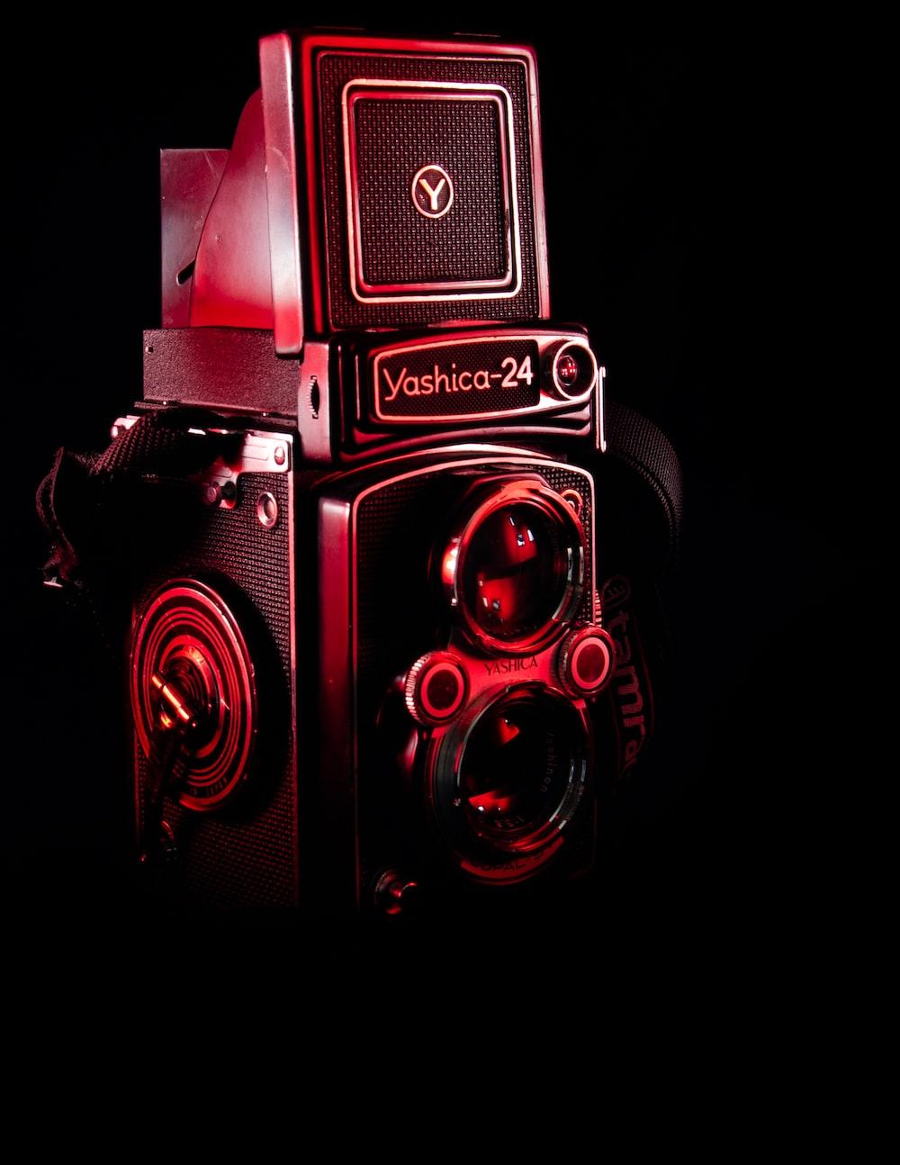 black Yashica 24 dual-lens reflex camera