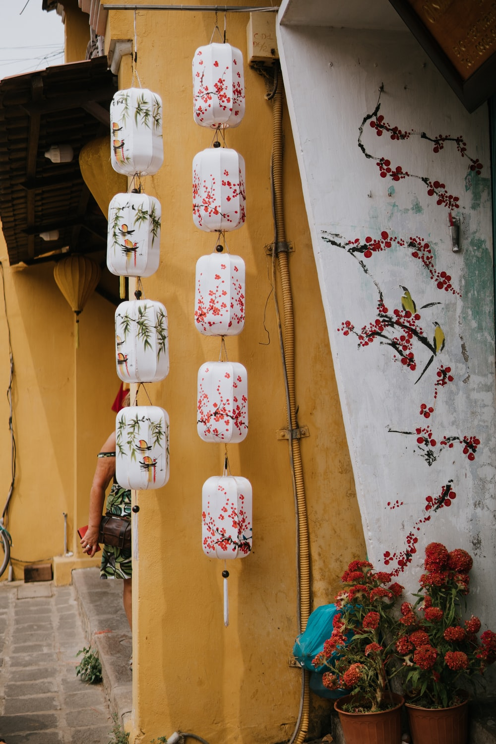flowers near wall and hanging decor