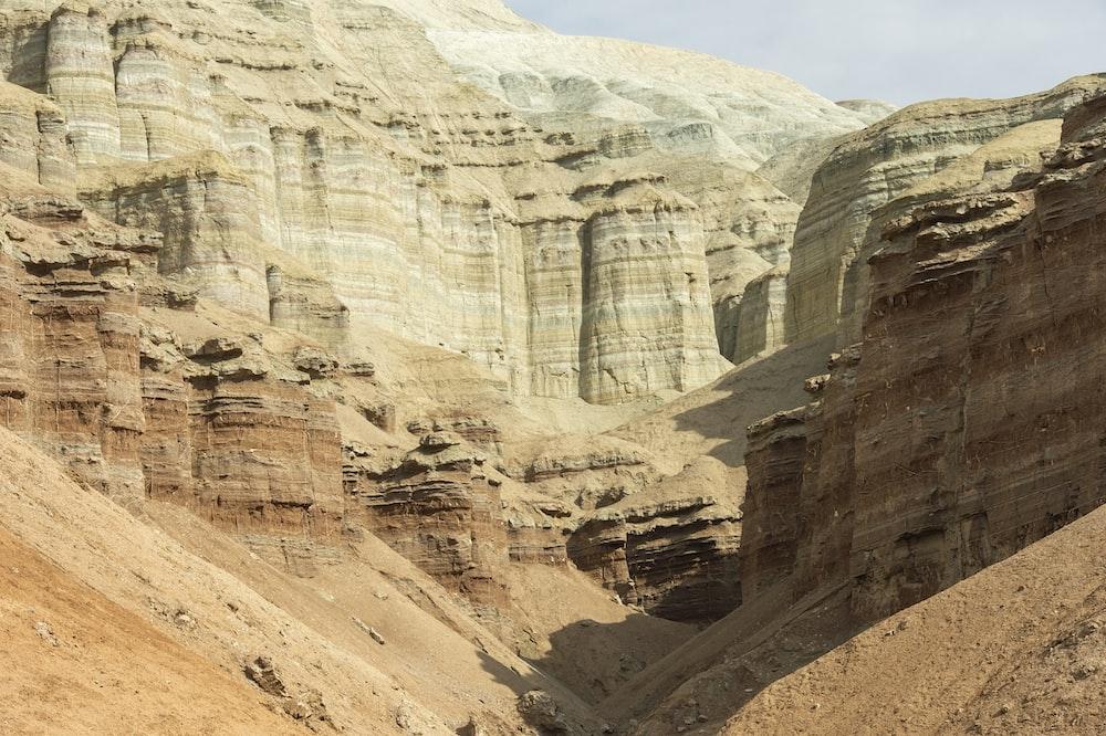 canyon under gray sky
