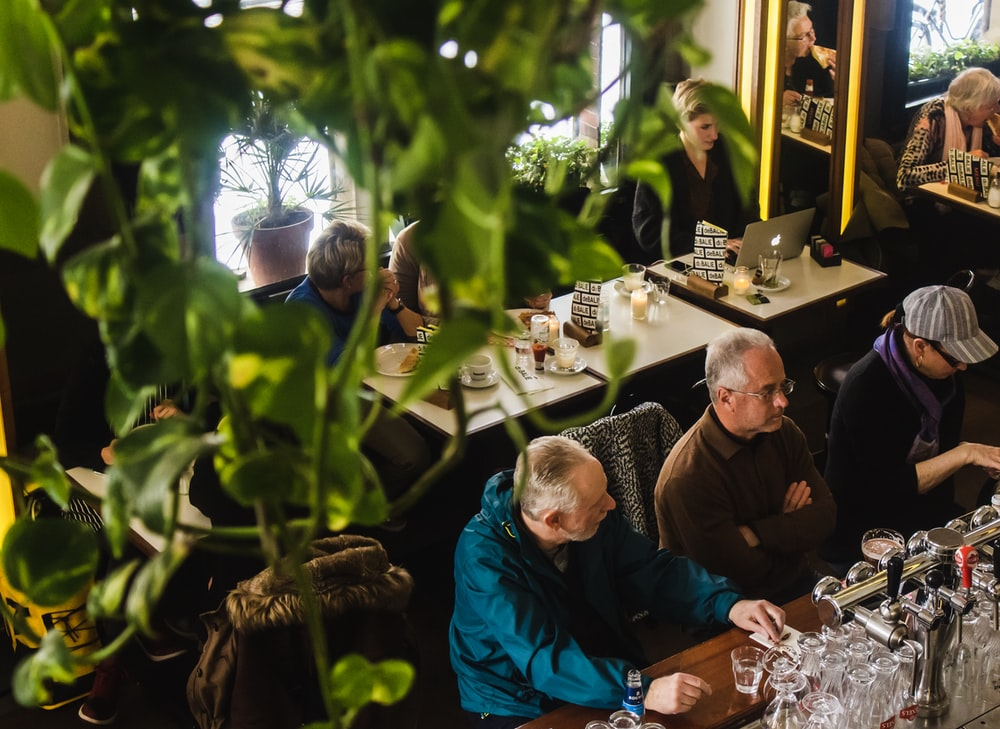 people sitting by the table at cafe with hanging green indoor plants