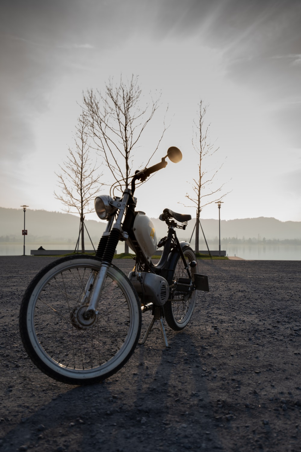 white bicycle on ground