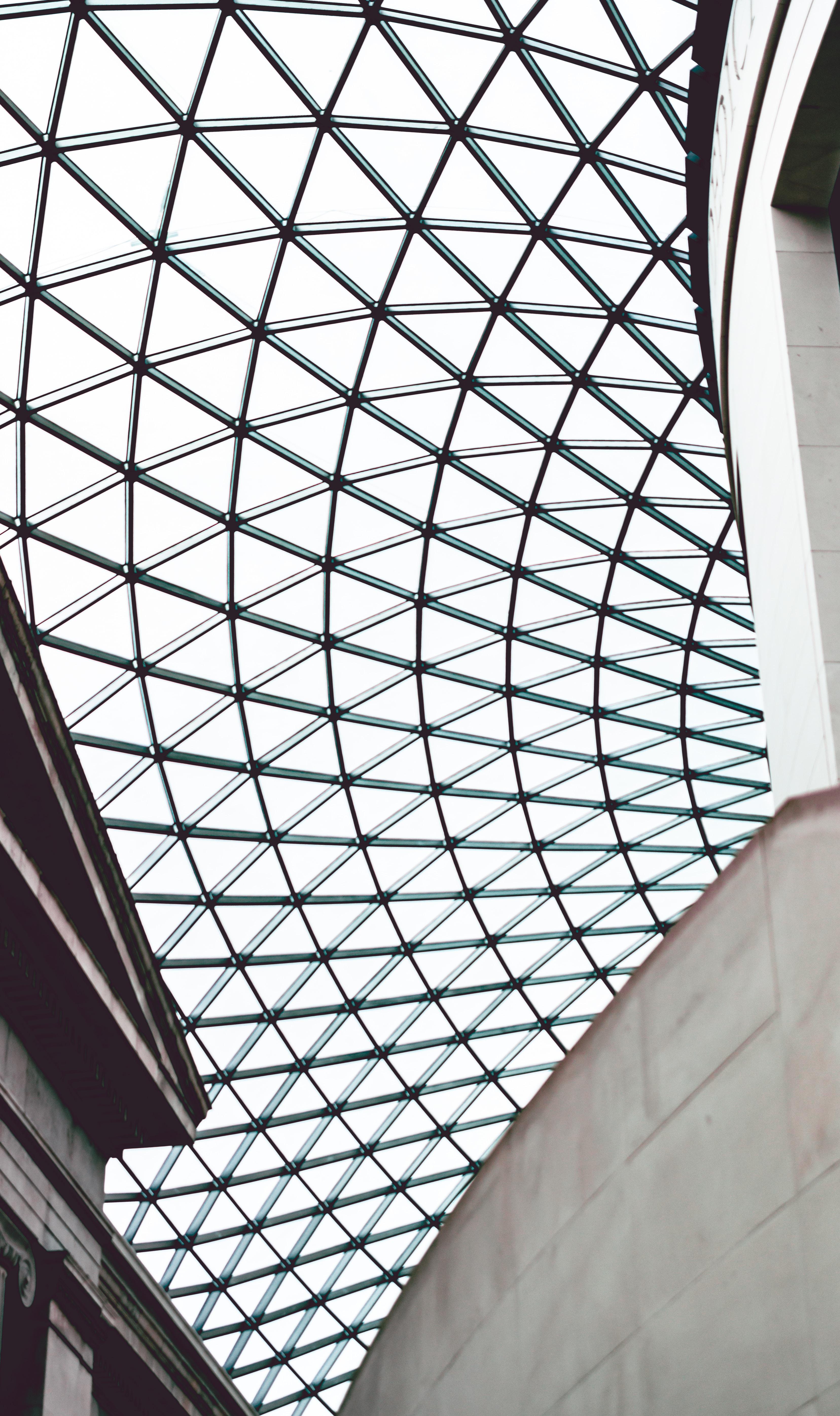 black metal framed glass dome ceiling